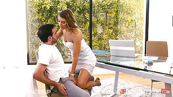 Smashing brunette, Adriana Chechik knows how to satisfy a marrie dman, better than his wife